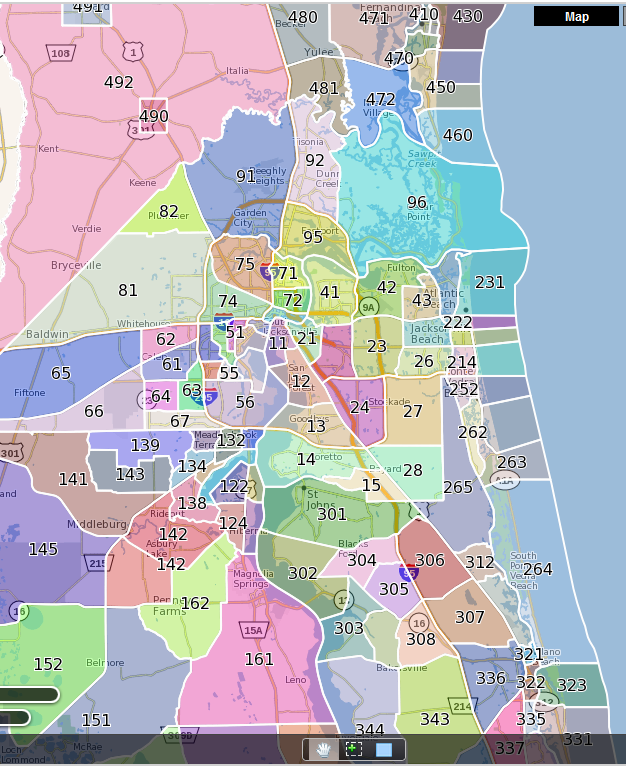 Jacksonville Mls Map: Florida County Maps With Zip Codes At Slyspyder.com
